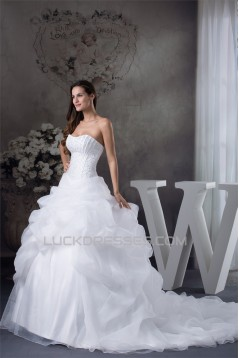 Ball Gown Princess Satin Organza Fine Netting Chapel Train Wedding Dresses 2030252