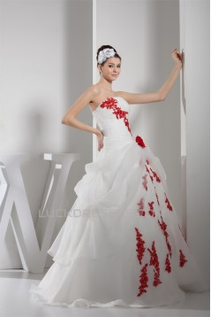 Princess Sleeveless Satin Lace Organza Strapless Wedding Dresses 2030256