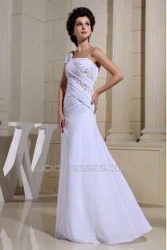 Satin Chiffon Floor-Length Beading One-Shoulder Wedding Dresses 2030261