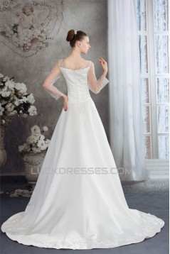 A-Line 3/4 Length Sleeve Scoop Wedding Dresses 2030262