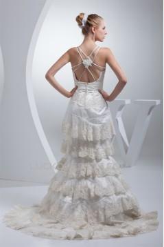 Trumpet/Mermaid Sleeveless Spaghetti Straps Lace Wedding Dresses 2030263