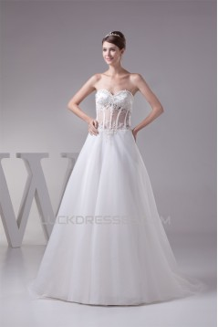 A-Line Sweetheart Beaded Lace Wedding Dresses 2030265