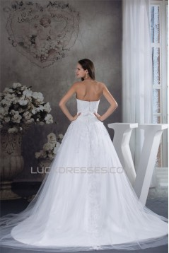 A-Line Strapless Beaded Lace Sleeveless New Arrival Wedding Dresses 2030266