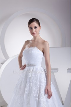 Elegant A-Line Strapless Beaded Lace Sleeveless New Arrival Wedding Dresses 2030267