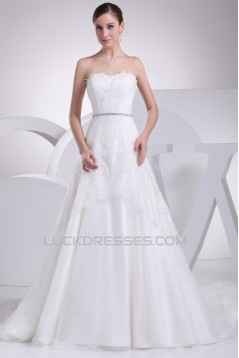 Satin Fine Netting Sleeveless A-Line Strapless New Arrival Lace Wedding Dresses 2030268