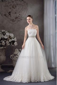 A-Line Strapless Satin Fine Netting Sleeveless Beaded Lace Wedding Dresses 2030269