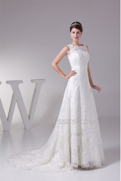 Satin Lace Fine Netting A-Line Scoop Sleeveless Best Wedding Dresses 2030272