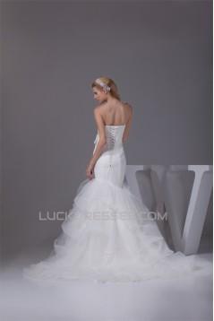 Trumpet/Mermaid Satin Lace Fine Netting Wedding Dresses 2030274