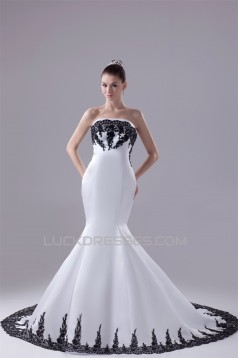 Mermaid/Trumpet Satin Lace Black White Wedding Dresses with A Lace Jacket 2030275
