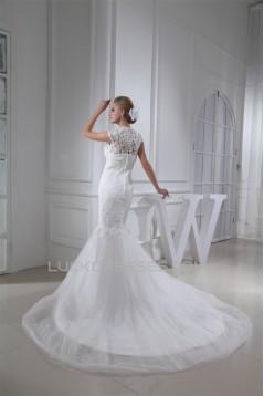 Trumpet/Mermaid Satin Beaded Lace Fine Netting Wedding Dresses 2030276