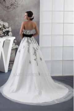 A-Line Satin Lace Fine Netting Strapless New Arrival Wedding Dresses 2030277