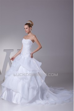 Ball Gown Beaded Satin Lace Organza Princess Strapless Wedding Dresses 2030279