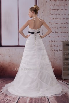 A-Line Halter Beaded Satin Lace Organza Wedding Dresses 2030280
