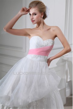 Ball Gown Sweetheart Satin Lace Organza Floor-Length Wedding Dresses 2030282