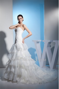 A-Line Sweetheart Beaded Satin Lace Organza Wedding Dresses 2030283