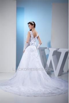A-Line Beaded Satin Lace Organza Chapel Train Chapel Train Wedding Dresses 2030284