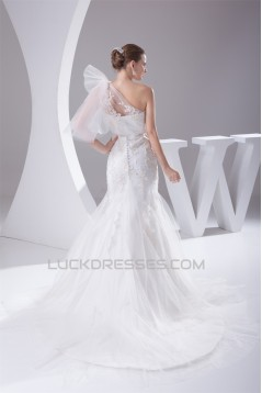 Mermaid/Trumpet Satin Netting Lace One-Shoulder Wedding Dresses 2030286