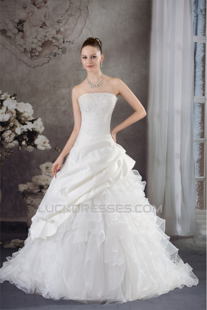 Ball Gown Satin Organza Strapless Lace Wedding Dresses 2030287