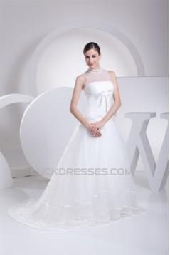 A-Line Satin Organza Fine Netting Sleeveless Wedding Dresses 2030288