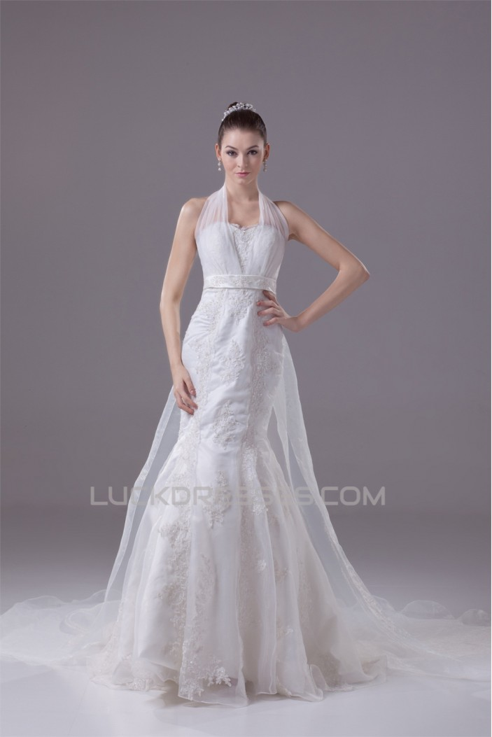 Mermaid/Trumpet Halter Lace Most Beautiful Wedding Dresses 2030290