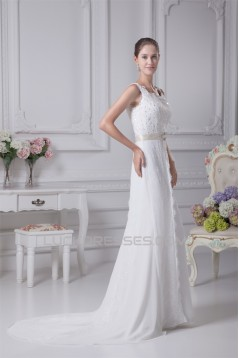 Satin Organza Silk like Satin A-Line Sleeveless Lace Wedding Dresses 2030293