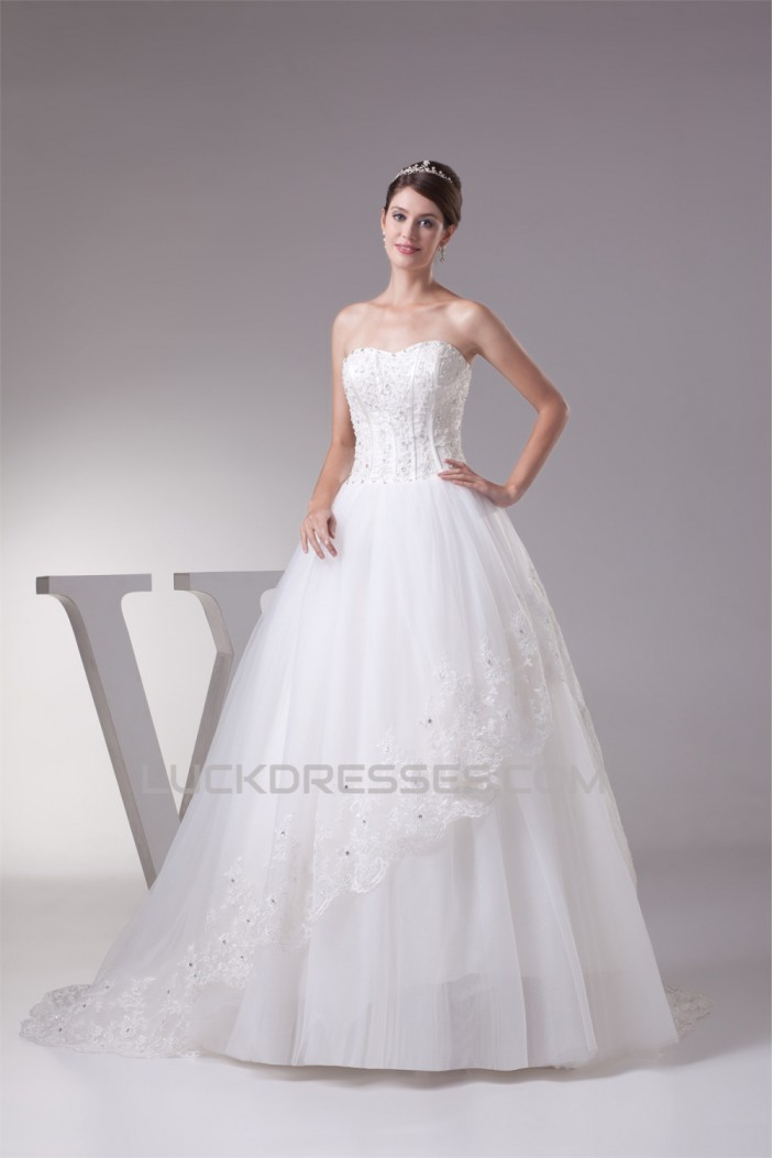 Satin Organza Sleeveless A-Line Sweetheart New Arrival Lace Wedding Dresses 2030294