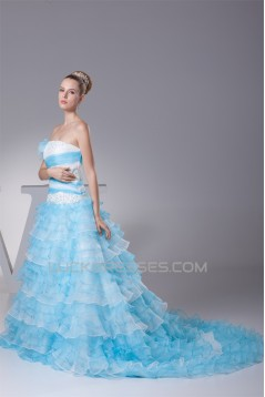 A-Line Strapless Beaded Lace Wedding Dresses with Color 2030295