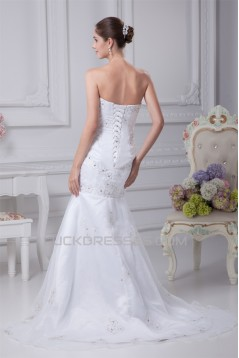 Satin Organza Sleeveless Sweetheart Mermaid/Trumpet Sweet Wedding Dresses 2030296
