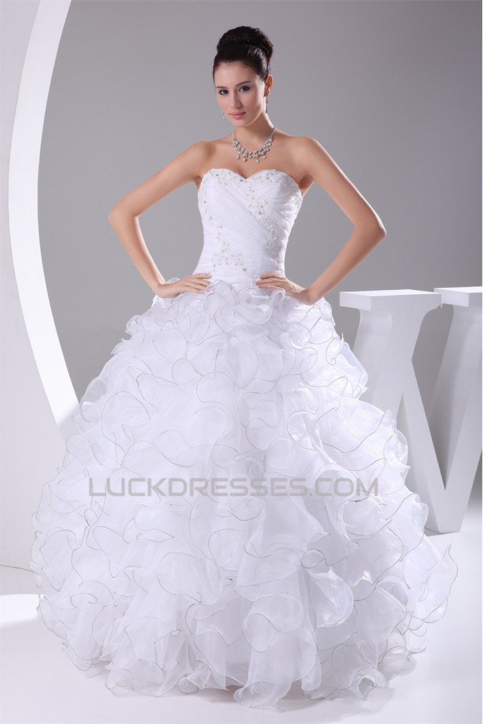 Satin Organza Strapless Sleeveless Ball Gown New Arrival Wedding Dresses 2030298