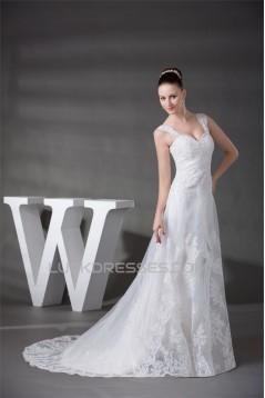 A-Line Straps Sleeveless Lace Wedding Dresses 2030299