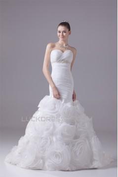 Mermaid/Trumpet Satin Organza Sweetheart Most Beautiful Wedding Dresses 2030300