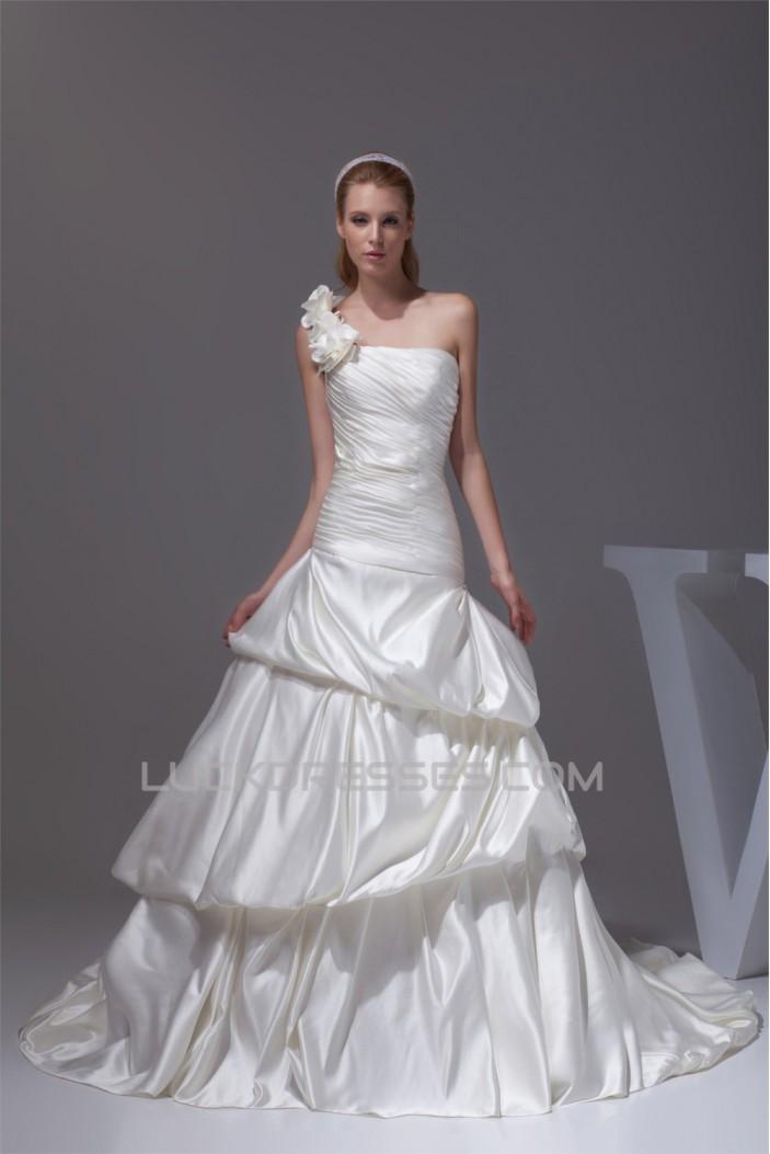 Satin Sleeveless One-Shoulder A-Line New Arrival Wedding Dresses 2030303