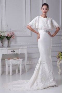 Mermaid/Trumpet Satin Sleeveless Scoop Lace Wedding Dresses 2030304