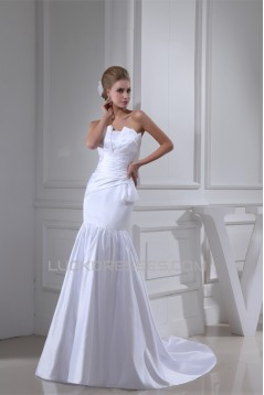 Mermaid/Trumpet Satin Sleeveless Strapless Wedding Dresses 2030305