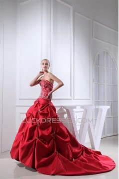 A-Line Satin Taffeta Princess Square Sleeveless Wedding Dresses 2030307