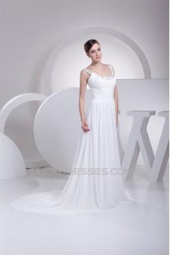 A-Line Chiffon Scoop Sleeveless Sweet Wedding Dresses 2030310