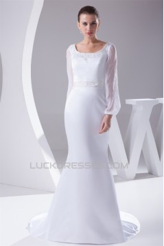 Mermaid/Trumpet Chiffon Satin Long Sleeve Scoop Wedding Dresses 2030313