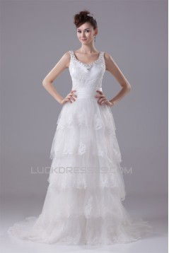 A-Line Sleeveless Scoop Satin Lace Wedding Dresses 2030314