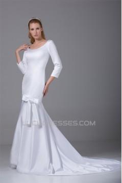 Mermaid/Trumpet 3/4 Length Sleeve Scoop Satin Wedding Dresses 2030315