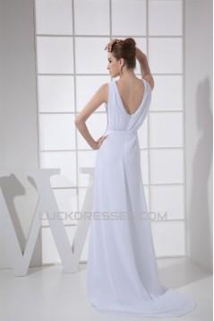Sheath/Column Sleeveless Chiffon Scoop Wedding Dresses 2030316