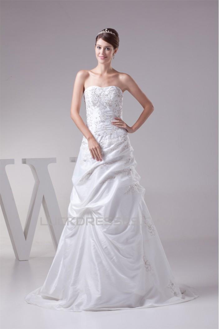 A-Line Strapless Taffeta Sweet Wedding Dresses 2030317