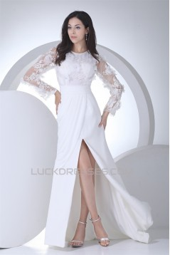Sheath/Column Chiffon Satin Lace Long Sleeve Front Split Wedding Dresses 2030318