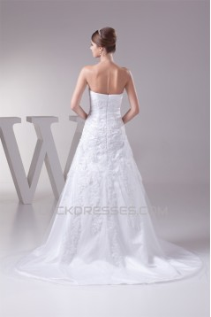 A-Line Satin Lace Fine Netting Sweetheart Wedding Dresses 2030322