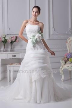 A-Line Satin Organza Sleeveless Lace Wedding Dresses 2030323