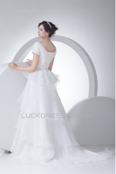 A-Line Satin Organza Straps Short Sleeve Lace Wedding Dresses 2030324