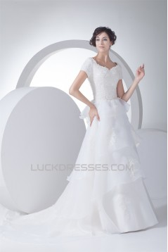 A-Line Satin Organza Straps Short Sleeve Lace Wedding Dresses 2030324