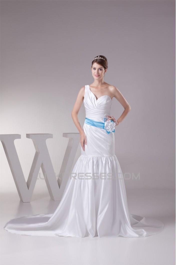 Trumpet/Mermaid Satin One-Shoulder Wedding Dresses 2030325