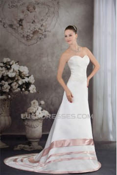 A-Line Satin Silk like Satin Sleeveless Wedding Dresses with Color 2030326