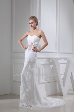 Sheath/Column Sleeveless Fine Netting Soft Sweetheart Lace Wedding Dresses 2030329
