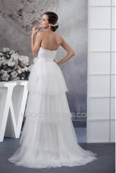 A-Line Sleeveless Satin Fine Netting Reception Wedding Dresses 2030330